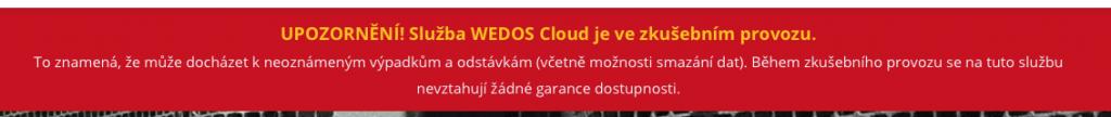 WEDOS Cloud upozornění