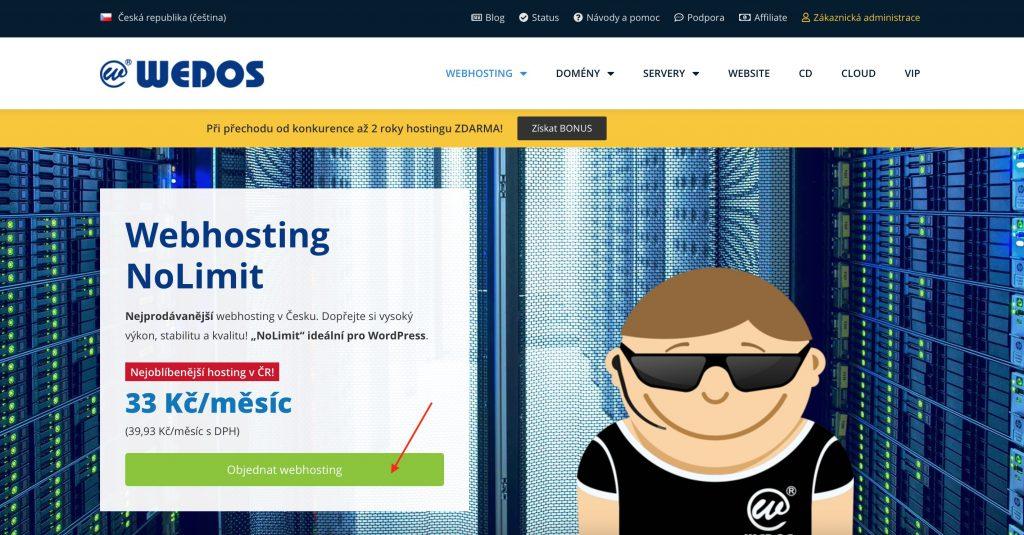 WEDOS objednávka webhostingu NoLimit